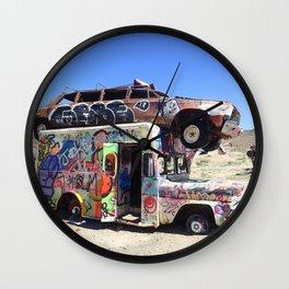 Edgy urban graffiti car art Wall Clock