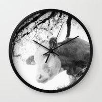 cow Wall Clocks featuring COW by Julia Aufschnaiter