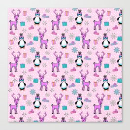 Christmas, Playful Deer and Penguins in a Pink Tutu Canvas Print