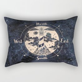 Compass World Star Map Rectangular Pillow