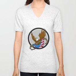 American Eagle Clutching Towing J Hook Flag Circle Retro Unisex V-Neck