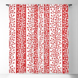 Mid Century Modern Berry Vine Stripes Red Blackout Curtain