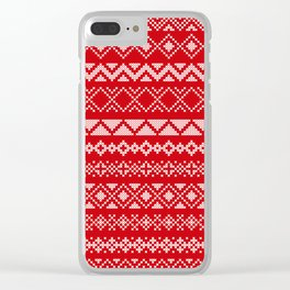 Cross Stitched Traditional Scandanavian Patterns Clear iPhone Case