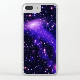 GAlaxy Purple Hot Pink Stars Clear iPhone Case