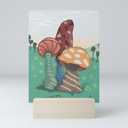 Doodled Mushroom Trio Landscape Mini Art Print
