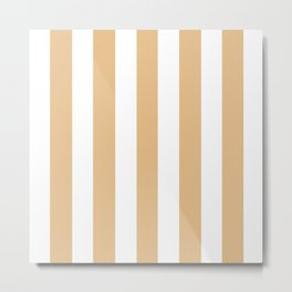 Gold (Crayola) pink - solid color - white vertical lines pattern Metal Print