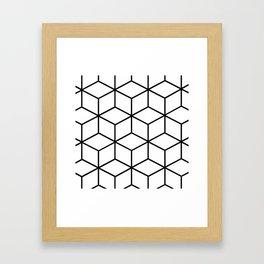 Black and White - Geometric Cube Design I Framed Art Print