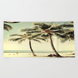 Retro Vintage Palm Tree with Hawaii Summer Sea Beach Beach Towel