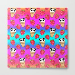 Cute funny sweet adorable little baby panda bear ice cream cones with sprinkles and red ripe summer strawberries cartoon bright rainbow blue pattern design Metal Print