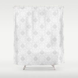 delicate lace - grey on white Shower Curtain