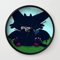 toothless Wall Clocks featuring Toothless by DaemonDeDevil