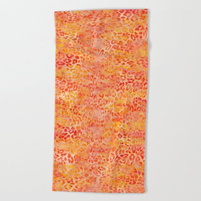 Orange Leopard Print Beach Towel