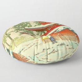 Vintage Japanese Woodblock Print Red Snow Pagoda Garden Floor Pillow