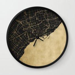 Toronto Gold and Black Street Map Wall Clock