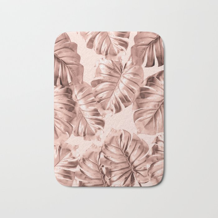 rose gold monstera leaves on blush pink 2 bath mat by