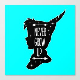 Peter Pan Quote - Never Grow Up Canvas Print