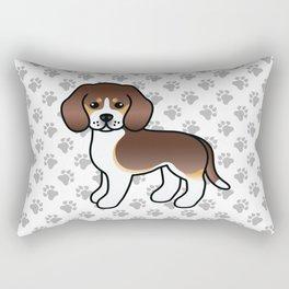Cute Chocolate Tricolor Beagle Dog Cartoon Illustration Rectangular Pillow
