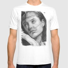 Angelina Jolie Traditional Portrait Print Mens Fitted Tee MEDIUM White