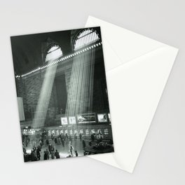 Grand Central Station, Rays of Sunlight spilling in terminal, New York City black and white photograph Stationery Cards