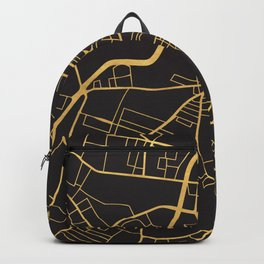 BELFAST NORTHERN IRELAND GOLD ON BLACK CITY MAP Backpack