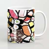 sushi Mugs featuring Sushi! by thickblackoutline