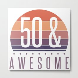 50th Birthday Retro Sunset Metal Print