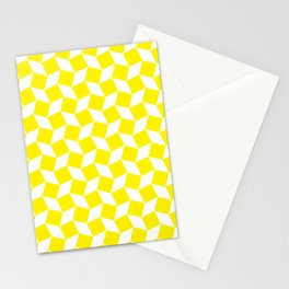 Yellow Op Art Pattern Stationery Cards
