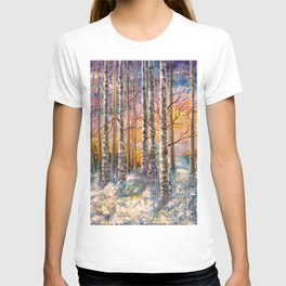 Winter Sunset Landscape Impressionistic Painting With Palette Knife T-shirt