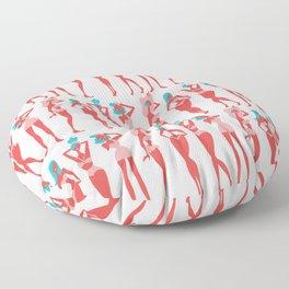 Beach Bombshells – Cyan & Coral Palette Floor Pillow