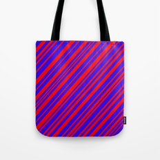 Lines 323 - Blue and Red Diagonals Tote Bag