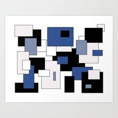 Squares -  gray, blue, black and white. Art Print