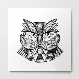Hip Wise Owl Suit Woodcut Metal Print