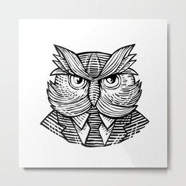 Hip Wise Owl Suit Woodcut Metal Print