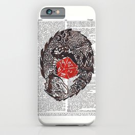 Here Be Dragons  (dragon and d20 dice on dictionary page) iPhone Case