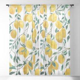 yellow lemon watercolor 2020 Sheer Curtain