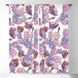 Modern vintage pink lavender watercolor cactus floral Blackout Curtain