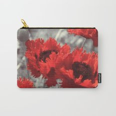 Big Red Watercolor Poppies on Grey Background Carry-All Pouch
