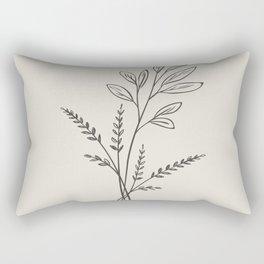 6-202R-1, Beige & Dark brown, Floral Botanical art, Wild flower, Plant Leaves, Boho decor, Rectangular Pillow