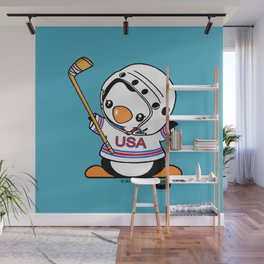 Ice Hockey Penguin Wall Mural