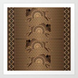 Buffalo Running (Brown) Art Print