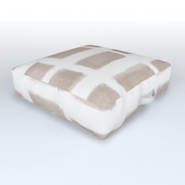 Brush Strokes Horizontal Lines Nude on Off White Outdoor Floor Cushion