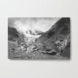 Dramatic view in black and white of Franz Josef Glacier in New Zealand. Metal Print