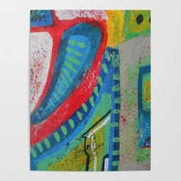 Abstract landscape - bright, eye-opening, vibrant color piece Poster
