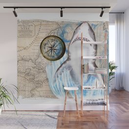 Great White Shark Compass Vintage Map Wall Mural
