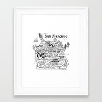 san francisco map Framed Art Prints featuring San Francisco Map Illustration by Claire Lordon