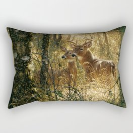 Whitetail Deer - A Golden Moment Rectangular Pillow