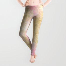 Pink watercolor gold glitter dust pattern Leggings