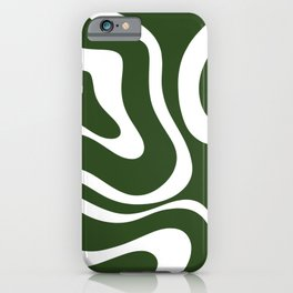 Retro Modern Liquid Swirl Abstract Pattern in Deep Green and White iPhone Case