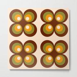 Retro 70s funky circle flowers brown, orange Metal Print