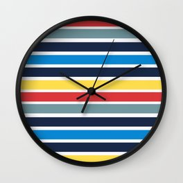 Bright multicolored horizontal stripes. Wall Clock